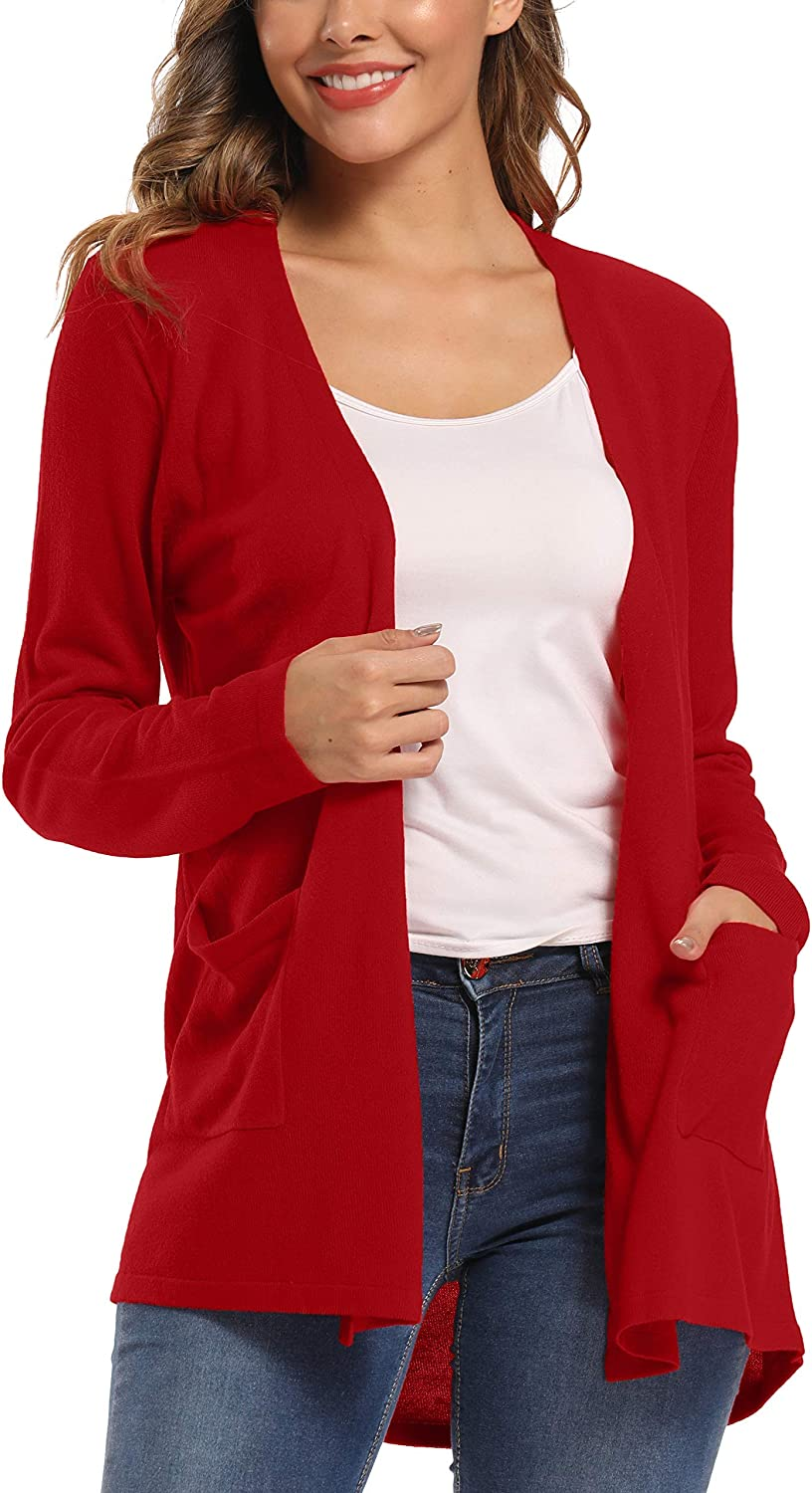 Urban CoCo Women's Long Sleeve Open Front Lightweight Cardigan Sweaters with Pockets
