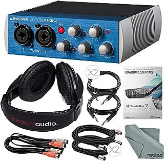 PreSonus AudioBox 96 USB 2.0 Audio Recording Interface and Accessory Bundle w/Stereo Headphones + Xpix Cable + Dual MIDI Cable + Fibertiqe