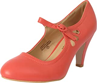 ff7b21c0ab51 Chase   Chloe Kimmy-21 Women s Round Toe Pierced Mid Heel Mary Jane Style  Dress