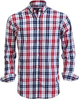 Double Pump Mens Button Down Shirts 100% Cotton Long Sleeve Shirts Regular Fit