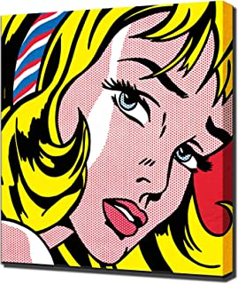 Roy Lichtenstein Girl with Hair Ribbon Framed Canvas Art Print Reproduction
