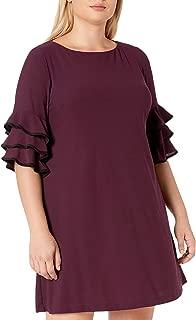 GABBY SKYE Womens Plus Size 3/4 Tiered Sleeve Round Neck Crepe Shift Dress 3/4 Sleeve Dress