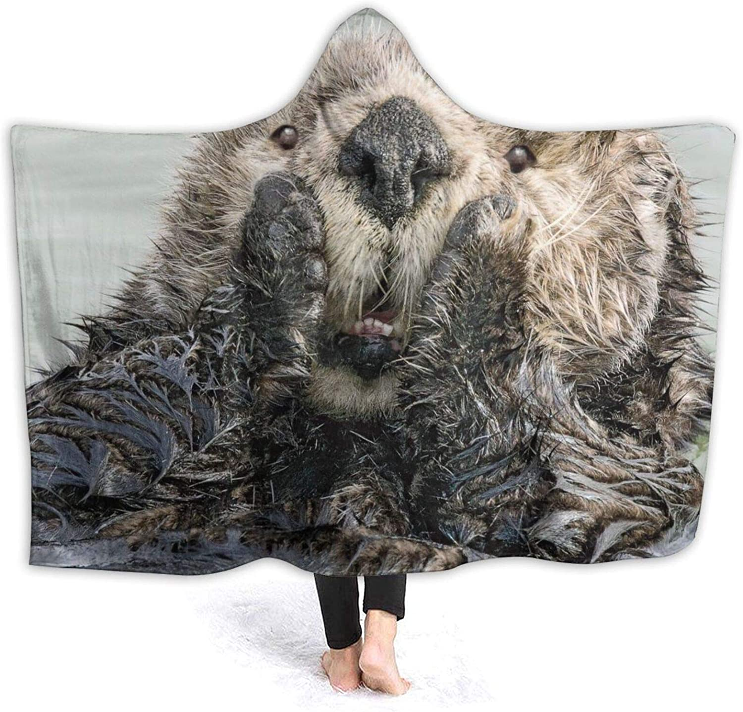 Cute price Otter Hooded Blanket Air Cheap mail order shopping Throw Conditioning