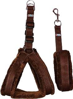 Petshop7 Nylon Dog Harness & Leash Set with Fur 0.75 inch Small - Brwon (Chest Size - 25-28)
