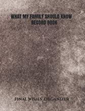 WHAT MY FAMILY SHOULD KNOW RECORD BOOK: End of Life Planner & What to Do When I'm Gone (Last Wishes, Estate Planning, Fune...