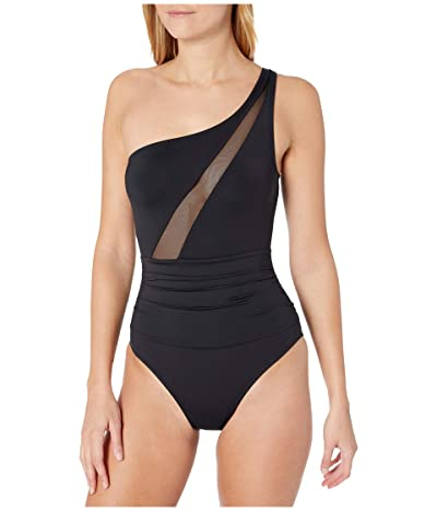 La Blanca Mesh-Merizing Mesh Front Draped One Shoulder Mio One-Piece (Black) Women