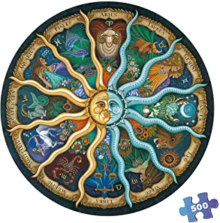 500 Pieces Puzzles for Adults Round Jigsaw Puzzles Zodiac Floor Puzzle Kids DIY Toys for Creative Gift Home Decor - Twelve...