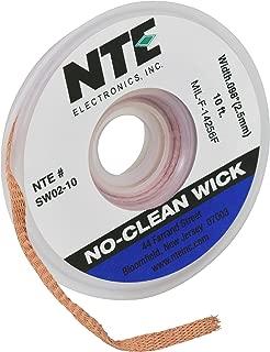 """NTE Electronics SW02-10 No-Clean Solder Wick, 4 Blue.098"""" Width, 10' Length"""
