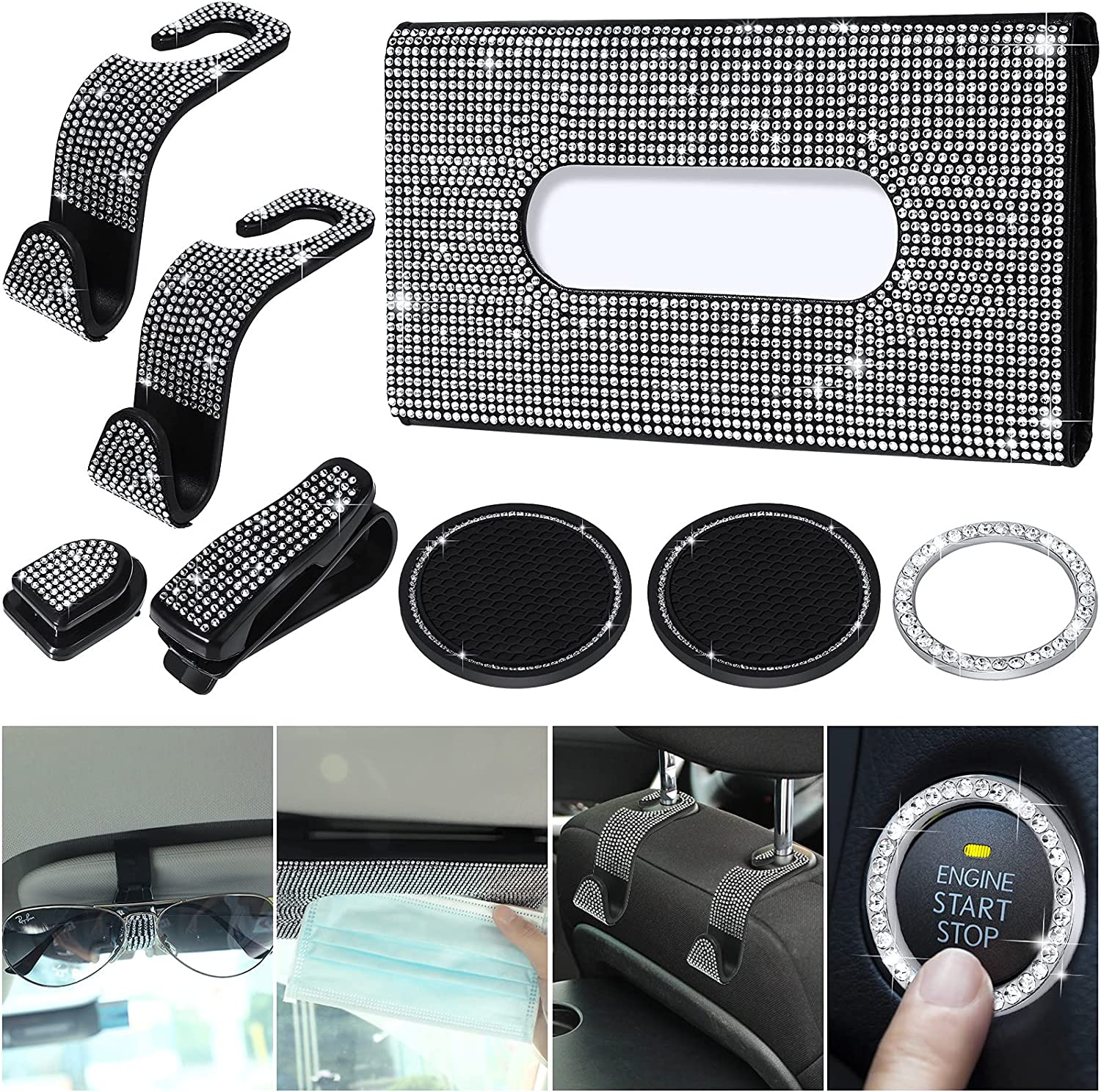 Bling Car Accessories Include Auto T Holder Sunglasses free Max 75% OFF Visor