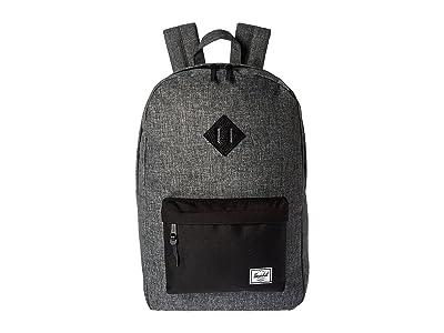 Herschel Supply Co. Heritage (Raven Crosshatch/Black/Black Pebbled Leather) Backpack Bags