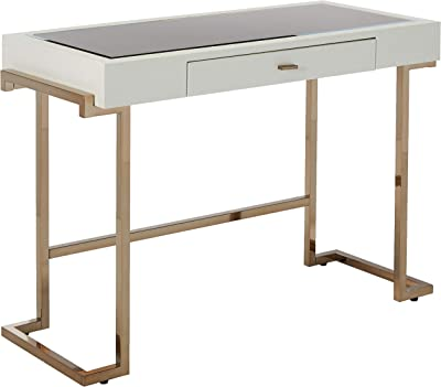 Major-Q Modern Home Office Furniture White PU & Champagne Writing Desk with Drawer