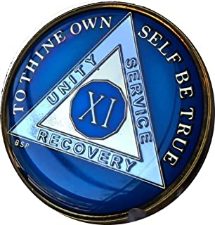 Bright Star Press 11 Year Midnight Blue AA Alcoholics Anonymous Medallion Chip Tri Plate Gold & Nickel Plated