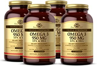 Solgar Triple Strength Omega-3 950 mg, 100 Softgels - 4 Pack - Supports Cardiovascular, Joint, Skin & Heart Health - Essen...