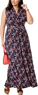 Womens Plus Sleeveless Floral Maxi Dress Navy 2X