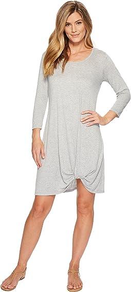 Mod-o-doc - Soft Crinkle Jersey 3/4 Sleeve Twist Hem Dress
