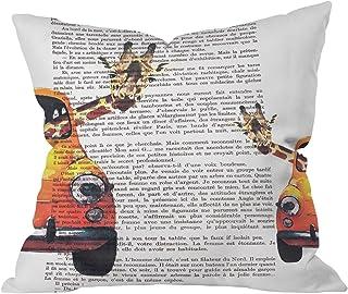 """Deny Designs Coco De Paris 2 Vintage Rabbits Outdoor Throw Pillow, 16"""" x 16"""""""