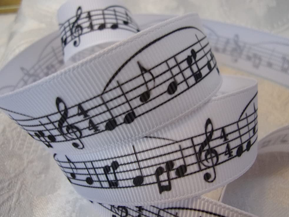 Grosgrain Ribbon - Black & White Musical Note Print - 7/8 Inch Wide - 10 Yards Hair Bows & Crafts!