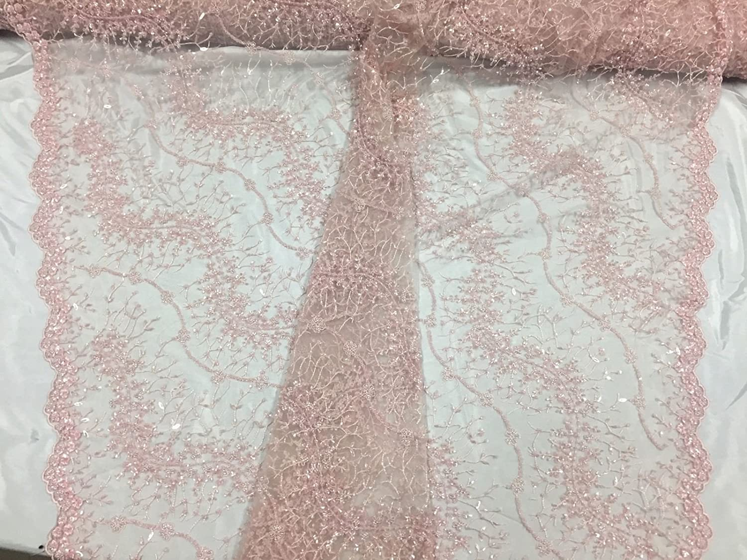 Light Pink French Beaded Design Embroider Mesh-Prom-nightgo Oklahoma City Mall Max 54% OFF A On