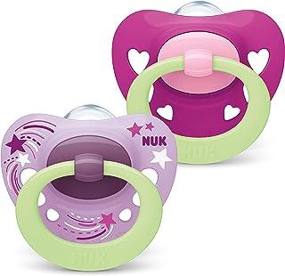 NUK Signatur Night Dummy   18-36 månader   Dummy med ljuseffekt   BPA-fri silikon   lila hjärtan   2 stycken