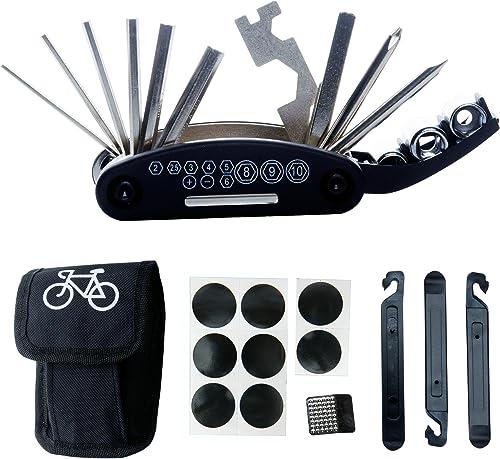 DAWAY Bike Repair Tool Kits - 16 in 1 Multifunction Bicycle Mechanic Fix Tools Set Bag with Tire Patch Levers, Practi...