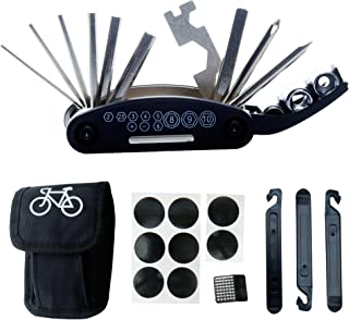 DAWAY Bike Repair Tool Kits - 16 in 1 Multifunction Bicycle Mechanic Fix Tools Set Bag with Tire Patch Levers, Practical Gift