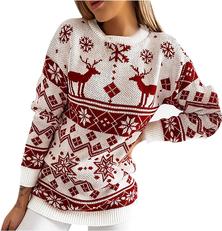 RFNIU Womens Graphic Christmas Sweater Casual Loose Long Sleeve Drop Shoulder Jumper Shirt Sweaters Crewneck Blouses Top
