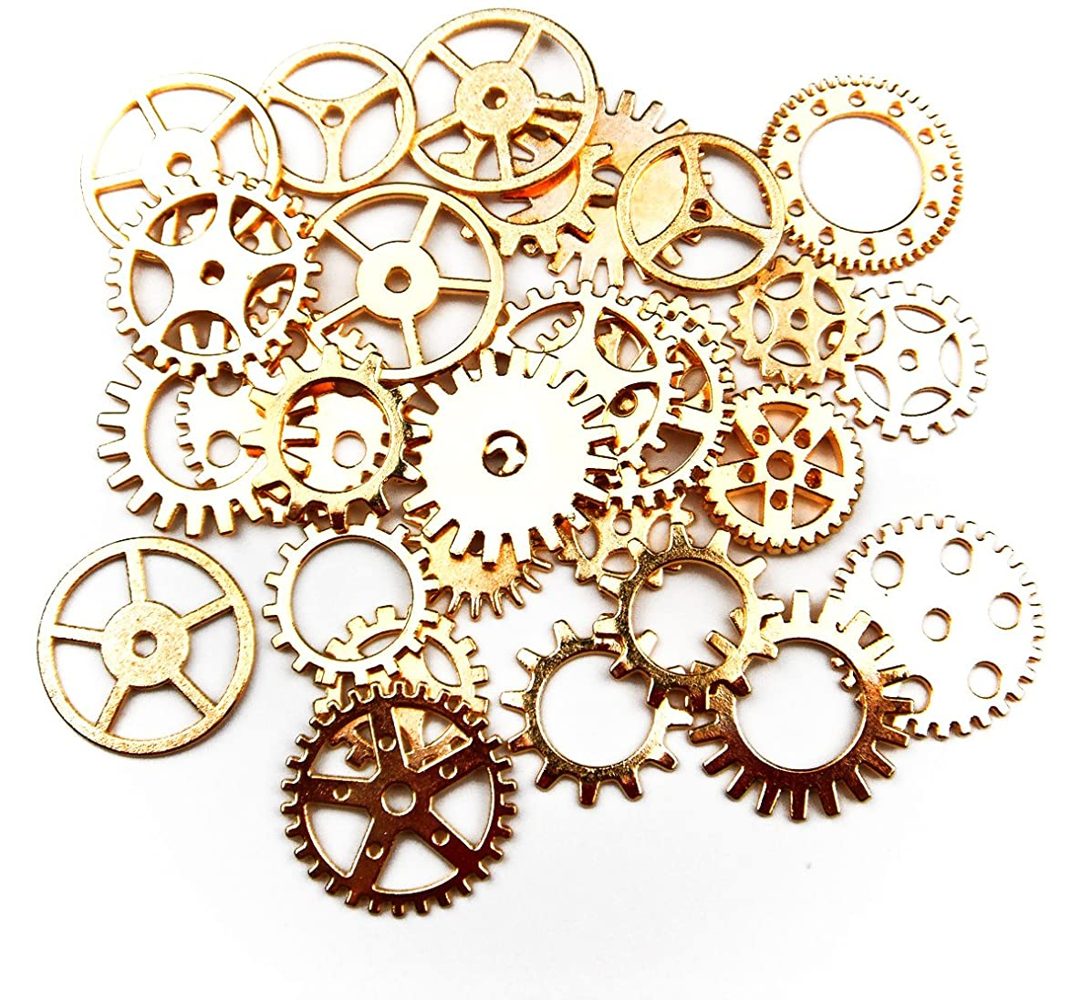 ALL in ONE 30pcs Steampunk Gear Wheel Charms Cog Connectors Pendants Jewelry Finding DIY Craft (GOLD)