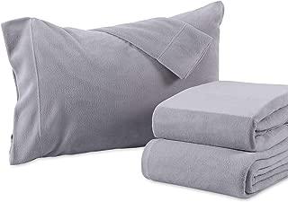 Berkshire Blanket Heavyweight Polarfleece Fleece Sheets, Queen, Chateau Grey