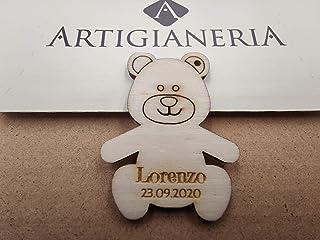 Artigianeria - Set di n°20 (o più) pezzi. Orsetto in legno con foro personalizzato con nome e data. Ideale come bomboniera...