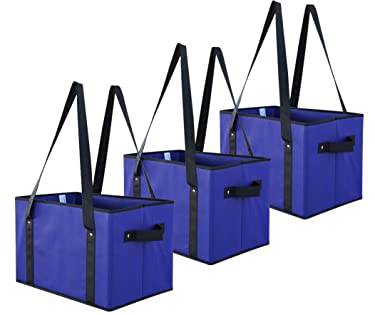 Earthwise Deluxe Collapsible Reusable Shopping Box Grocery Bag Set with Reinforced Bottom Storage Boxes Bins Cubes (Royal)