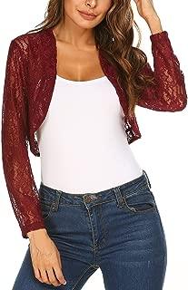 Women's 3 4 Sleeve Lace Shrugs Bolero Cardigan Crochet Sheer Crop Jacket