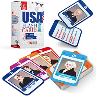merka Flash Cards USA Set United States Presidents States Symbols Flags Facts Flashcards for Kids Ages 5-10 Picture Cards ...