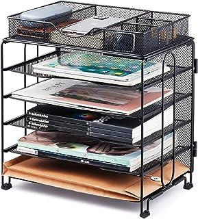 KEEGH Paper Organizer Tray,5 Tier Mesh Desk File Organizer with Extra Drawer | Screws Free Design