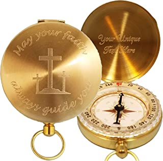 Stanley London Engraved May Your Faith Always Guide You Brass Pocket Compass, Personalized Baptism/Confirmation Gift