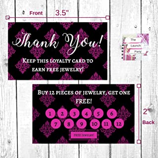 Jewelry Loyalty Cards | 50 Pk of Cards| Thank You Notes Black and Pink | 5 Bling Buy 12 Get One Piece of Jewelry Free