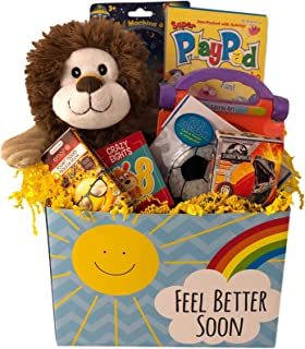 Deluxe Boys Feel Better Soon Get Well Gift Basket Care Package For Kids Prefilled with Toys, Activities, and Plush Ages 4-8