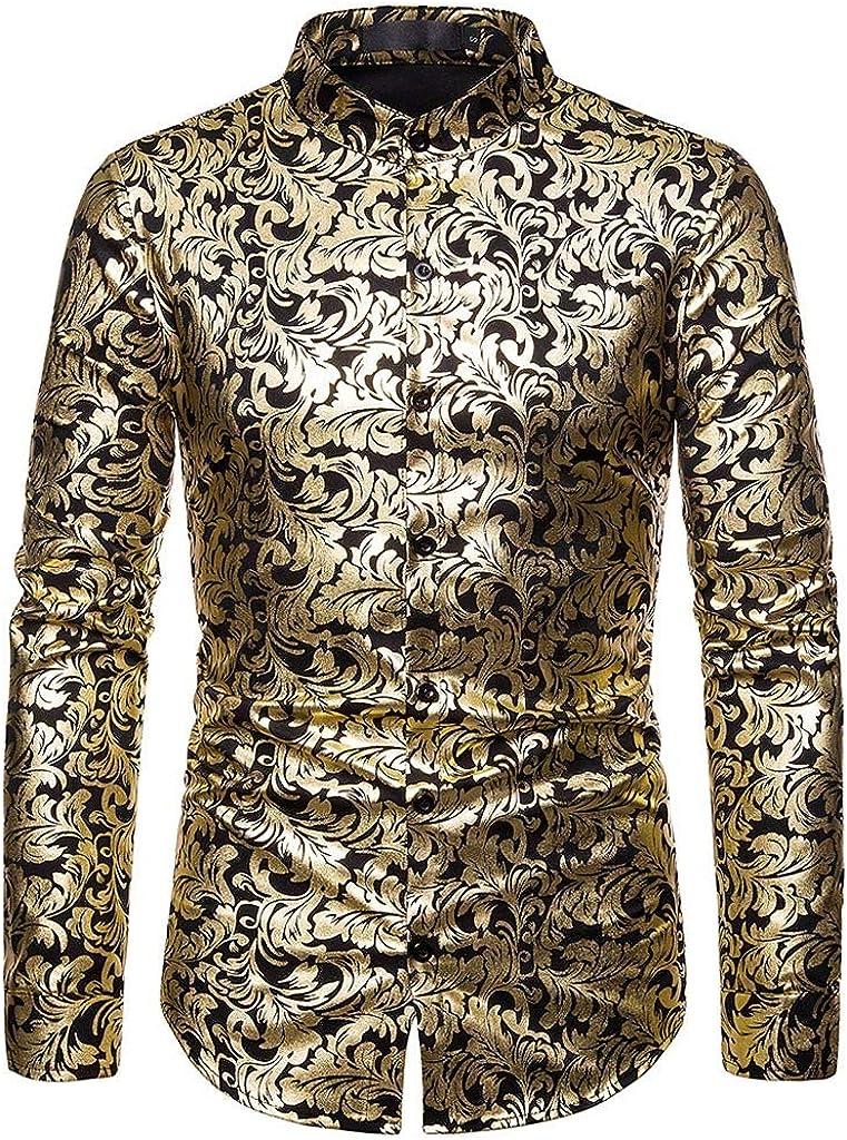 iLXHD Men's Dress New arrival Shirts Baggy Turn-Down Blazer But Max 69% OFF Print Collar