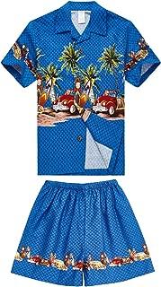 Palm Wave Boy Hawaiian Aloha Luau Shirt and Shorts 2 Piece Cabana Set in Blue Cars