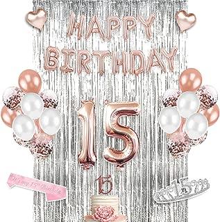15th Birthday Supplies Set, 15th Birthday Decorations - Perfect for quinceañera decorations & Sweet Fifteen, includes 15th Birthday Tiara Sash Cake Topper & Crown- Decoracion para quinceañera fiestas