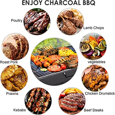 Yazhmsa 17x11.4x8.7 Inch Portable Charcoal Grill, Charcoal BBQ Grill for Camping Picnic,Stainless Steel Folding Charcoal Barb