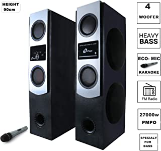 Electrosac ES-8866 Vibrating Giant 4- Woofer 200 watt Deep BASS Dual Tower Speakers with Bluetooth, ECO- Mic, Aux, USB, FM Multimedia Speaker (HD, Surrounding Sound, Heavy Bass)
