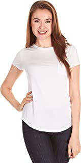 X America V Neck Short Sleeve Junior and Plus Size T Shirts for Women w/Pocket, Made in USA