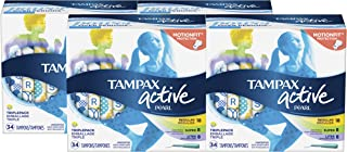 Tampax Pearl Active tampons, light/Regular/Super, 34Count Pack Of 4 (Total 136Count)