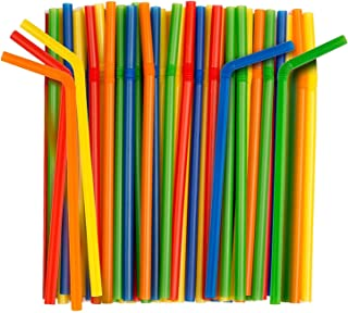 Giant Flexible Smoothie Straws [100 Pack] Assorted Colors
