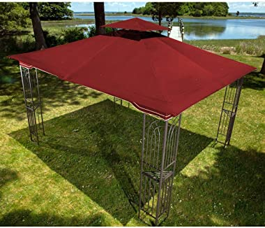 Sunjoy Expand Your Outdoor Living Space with a 10 x 12 Regency II Patio Gazebo with Mosquito Netting in Maroon