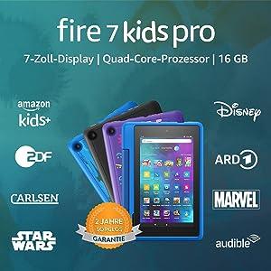Fire 7 Kids Pro-Tablet | Ab dem Grundschulalter | 17,8 cm großer Bildschirm (7 Zoll), 16 GB, kindgerechte Hülle in Himmelblau