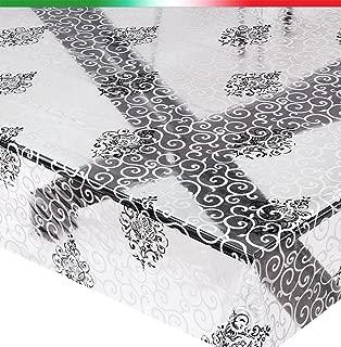 Mantel moderno, transparente, motivo lunares, blanco y negro, antimanchas, 140 cm, se vende por metros, modelo Kristal 91
