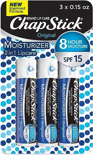 ChapStick Lip Moisturizer and Skin Protectant (Original Flavor, 1 Blister 3 Count) Lip Balm Tube, Sunscreen, SPF 15, ...