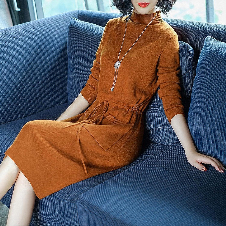 DEED Dress Female Models Slim Temperament Waist LongSleeved Skirt Dress Dress in The Long Section