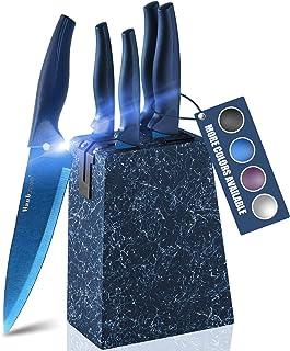 Wanbasion Bleu Set Couteaux de Cuisine avec Bloc en Bois, Set Couteaux de Cuisine en Acier Inoxydable, Bloc Couteaux Cuisi...